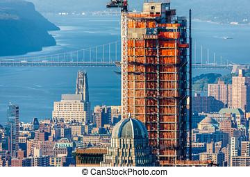 Skyscraper under construction, Upper West Side, Manhattan,...