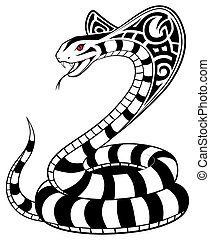 vector, serpiente, tribal, tatuaje