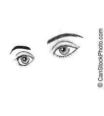 beau, yeux