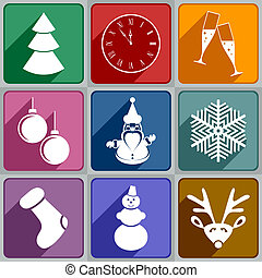 New Years icons - Set of New Years icons of different color...