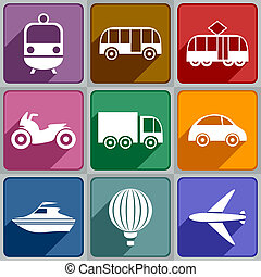 Transport icons - Set of transport icons of different color.