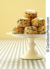 olive scones on cake stand - homemade olive scones on cake...