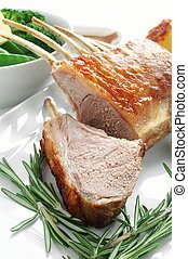 roast rack of lamb with vegetables