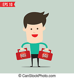 Businessman carry suitecase with 50 percent off - Vector...