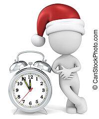 Christmas time - Dude the Santa Claus pointing at clock at 5...