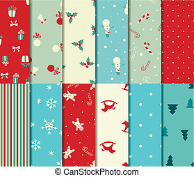 Set of 12 Christmas seamless patterns in retro style