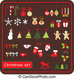 Set of  Christmas graphic elements. Vector illustration