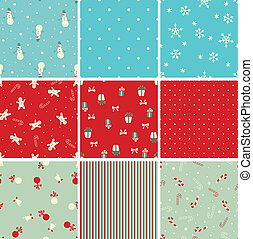 Set of Christmas seamless patterns in retro style