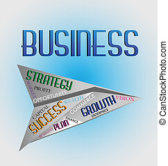 Business words in paper plane icon - Business words in paper...