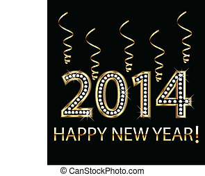 2014 gold happy new year - Happy new year 2014 in gold with...