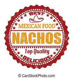 Nachos stamp - Nachos grunge rubber stamp on white, vector...