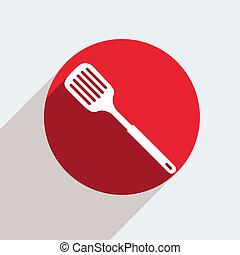 vettore, rosso, cerchio, icona, grigio, fondo, Eps10