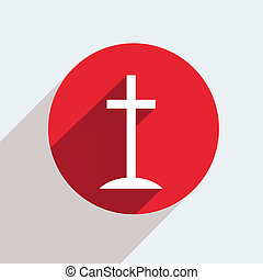 Vector red circle icon on gray background Eps10