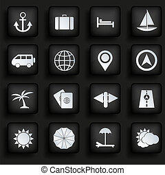 Vector travel icons set on black background. Eps10