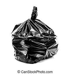Black Rubbish Bag on white background