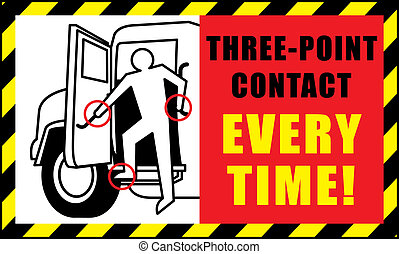 3 point contact - small sign displaying how to get into...