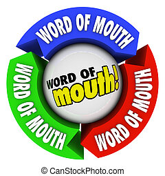 Word of Mouth Arrows Spreading Referral Opinion - Word of...