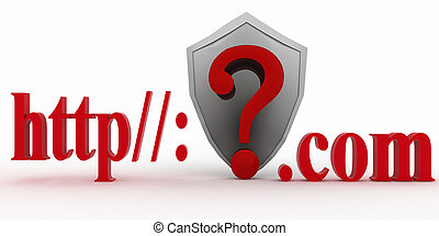 Shield and Question mark - Shield and Guestion mark between...