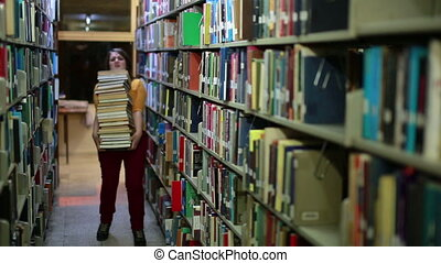 Distressed girl searching for books