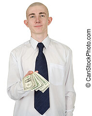 Man with money in a hand - The man in a white shirt with...