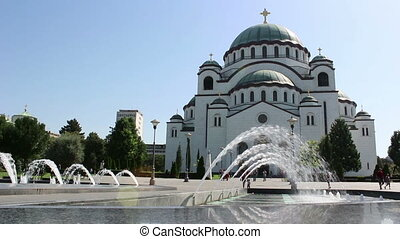 Temple, fountain, wide - Saint Sava Temple, fountain, wide
