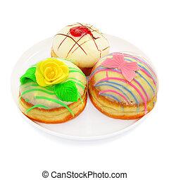 Three donuts with white chocolate - Three beautiful donut...