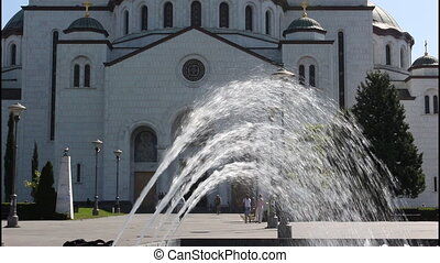 Belgrade, Temple, 2 clips - Saint Sava Temple, fountain, 2...