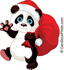 Panda with a sack full of gifts - Cute Panda with a sack...