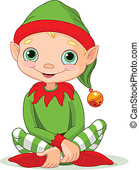 Christmas Elf - Illustration of sitting cute Christmas Elf...