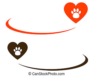 background with heart and paw - background with heart, paw...