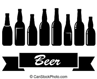 black glossy isolated beer bottles - set of black glossy...