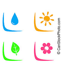 set of landscaping signs with water drop, flower, sun and...