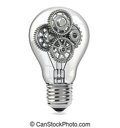 Lamp bulb and gears. Perpetuum mobile idea concept. 3d