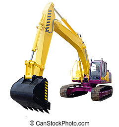 excavator under the white background