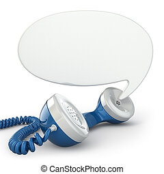 Telephone receiver and speech bubble. 3d