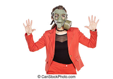 stop pollution - young business woman with a gas mask...