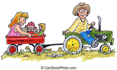 kids on a tractor - a little boy on a pedal tractor pulling...