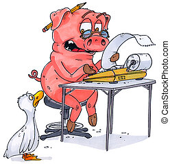 de-duck-table - a pig with an adding machine telling a duck...