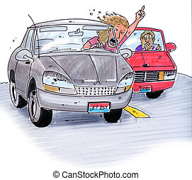 road rage - a young girl in her car cutting someone off on...