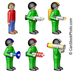 Toy soldiers on white background - Toy soldiers isolated on...