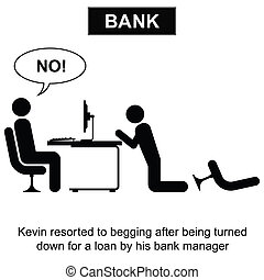 Bank Loan - Kevin resorted to begging for a loan cartoon...