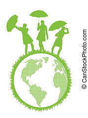 Ecology world concept with woman and umbrella protecting planet