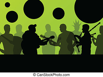 Rock concert various musicians landscape background...