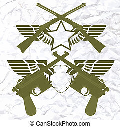 Badges with wings and small arms - Two old pistol on...