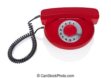 Red retro phone - Red retro phone isolated on white...