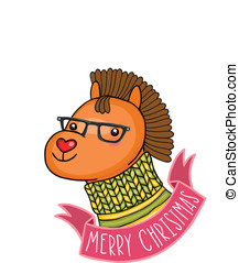 Christmas horse Holiday illustration - Christmas cute...
