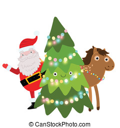 Christmas horse. Holiday illustration - Christmas cute...