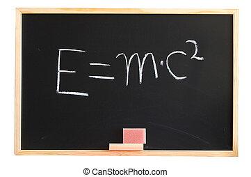 E mc2 formula from albert einstein on a chalkboard