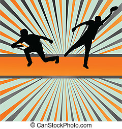 Disk thrower and catcher active people sport background...