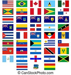 Flags of the countries of America - Badges with flags of...
